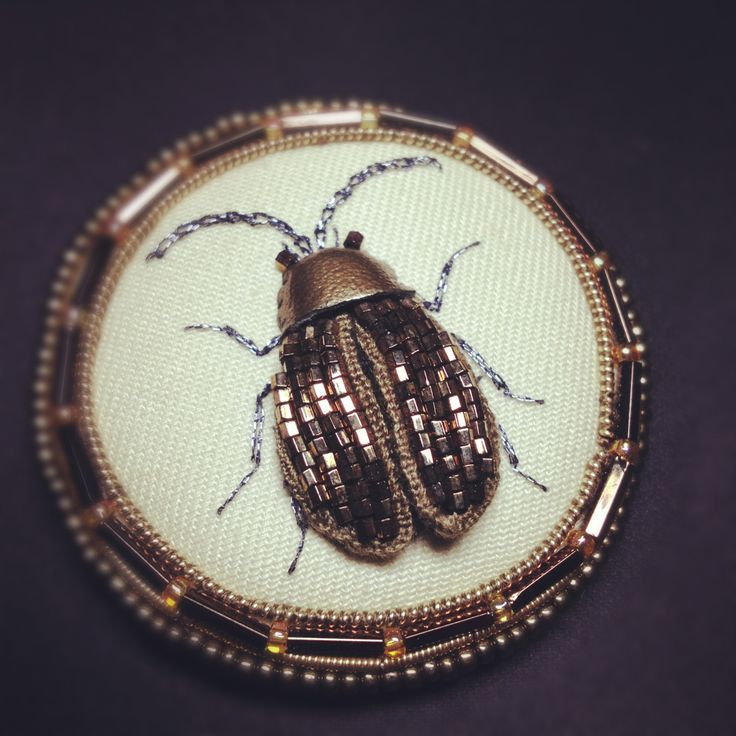 Stumpwork beetle brooch