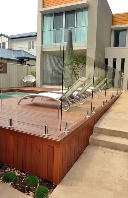 Timber pool deck design pool decks glass pool fencing for Pool design queensland