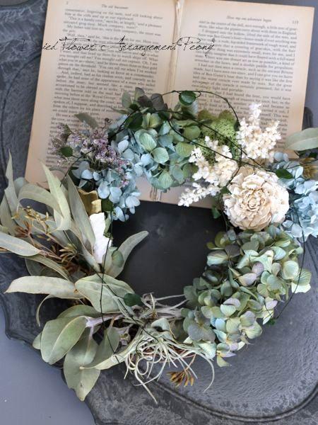 シダーローズとアジサイのリース- ドライフラワーリース&アレンジ | Dried Flower Arrangement ''Peony'' ピオニー