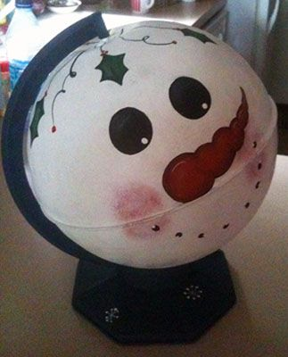 Turn a globe into Frosty or a Jack o lantern  Will have to look for one of these this garage sale season...
