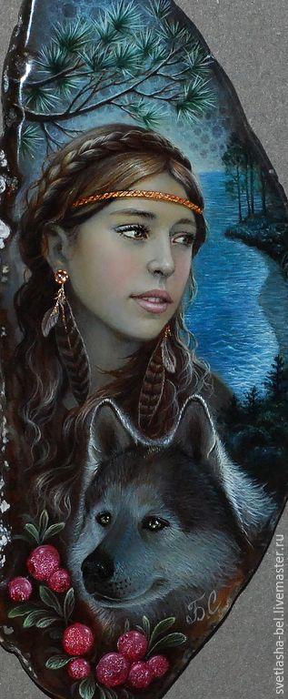 Купить Тайга (портрет) - разноцветный, лаковая миниатюра, портрет по фото, живопись маслом, живопись на камне