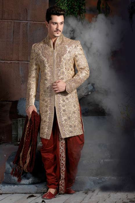 Cream Jacquard Embroidered Sherwani with Dhoti @ $564.39