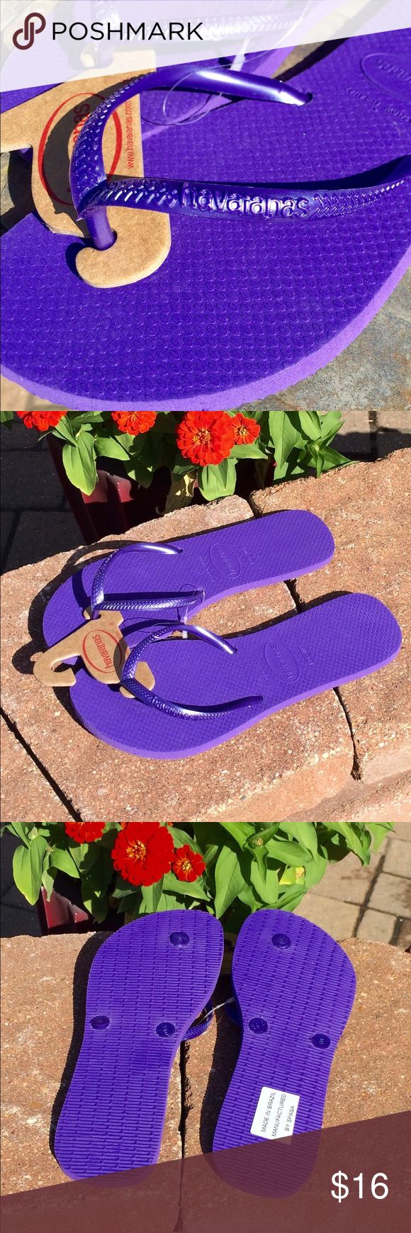 New Havaianas Purple Flip Flops Size 9/10W Brand new royal purple beauties! Top slightly pearlized. Made in Brazil. Havaianas Shoes Sandals