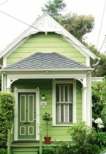 Cute lime green garden shed.  Love it!