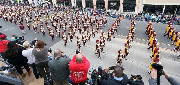 The University of Southern California Marching Band on the parade route during the 128th Tournamnet of Roses Parade Presented by Honda on January 2, 2017 in Pasadena, California.  (Photo by Frederick M. Brown/Getty Images)
