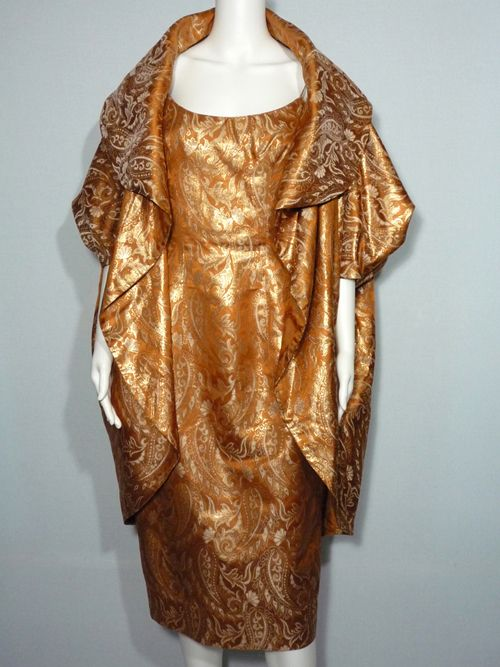 1950s Mr. Blackwell Copper and Gold Brocade Dress and Coat Cocktail Ensemble $450.00    My Vintage Clothes Line