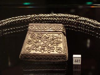 Poland - West Slavs | Kaptorga - early medieval container for amulets and/or sacred herbs, worn around the neck. | Skarby wieków średnich - skarb z Borucina - kaptorga oraz łańcuch