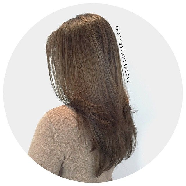 Medium ash brown color melt. Haircut & blowout. #HairByLarisaLove
