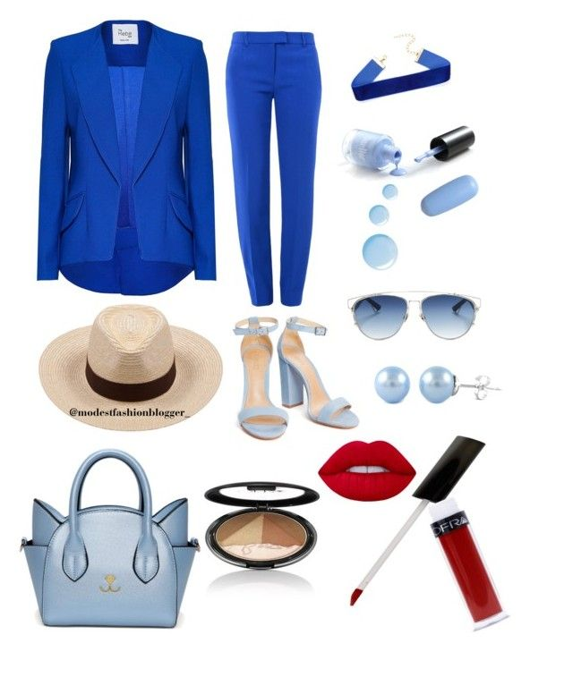 """""""Looking royal in blue"""" by saarahwilliams on Polyvore featuring Boutique Moschino, Christian Dior, Brixton, Topshop, Lime Crime, Modest, fashionset and summerhat"""