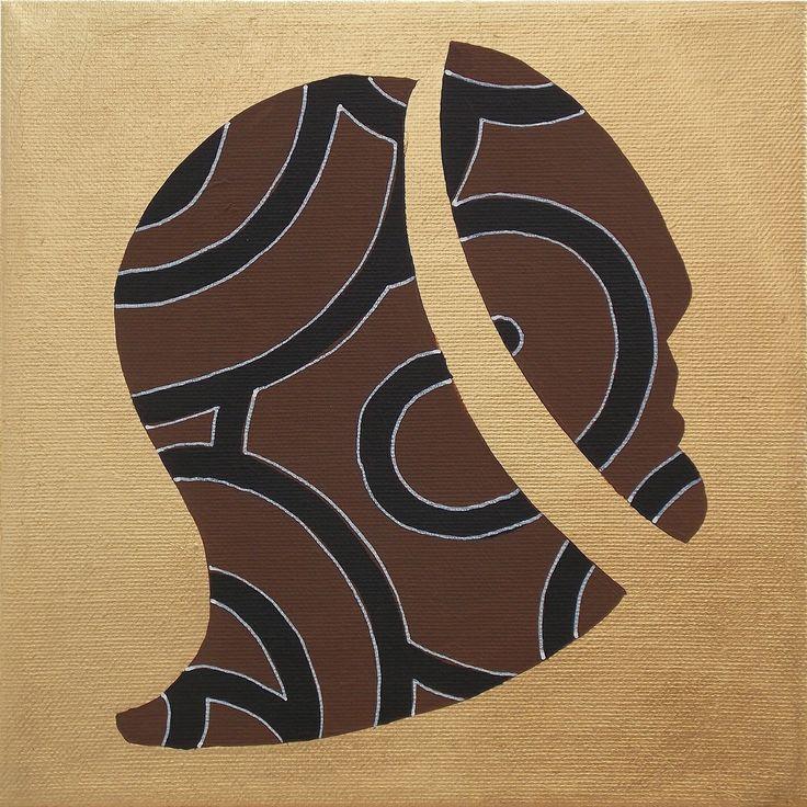 """andrea mattiello """"Sospiro""""  acrilico e foglia oro su tela cm 20x20; 2013"""