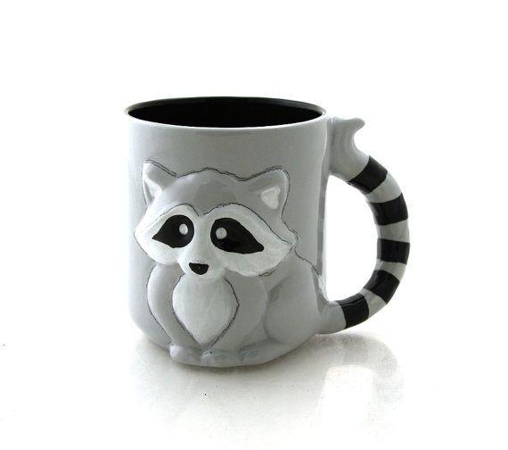 NOVELTY RACCOON HEAD 3D STYLE ANIMALS COFFEE MUG CUP NEW IN GIFT BOX