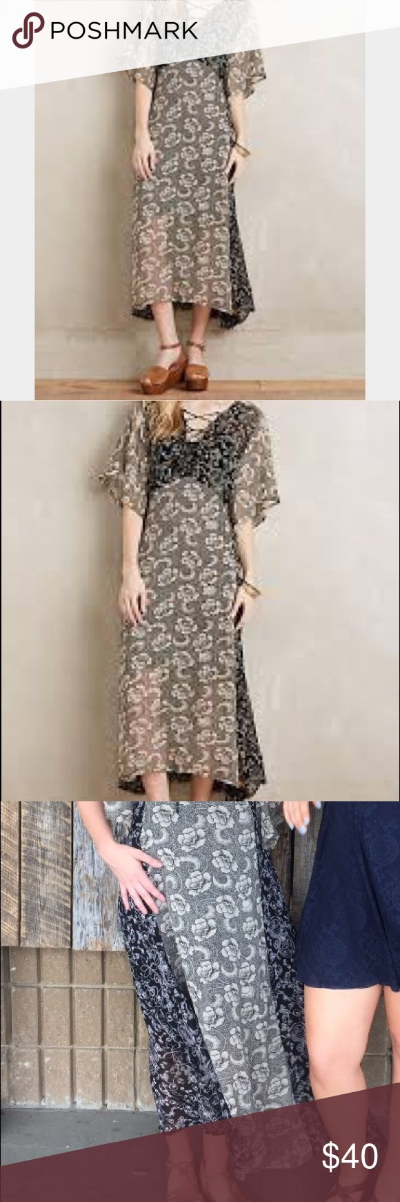 NWOT Maxi Dress M Anthropologie Floral Lace-Up Maxi Dress. Lace-up tie-up Cross-cross front, kimono batwing dolman style sleeves, floral print, empire waist. Semi-sheer but there is an attached black slip dress to line. Size: M Medium. Brand: One Fine Day. Purchased from Anthropologie.  Made in India. Condition: Like New. Worn once in as seen in the photos. EUC. Flowy, comfortable, sophisticated bohemian-inspired style. Anthropologie Dresses Maxi