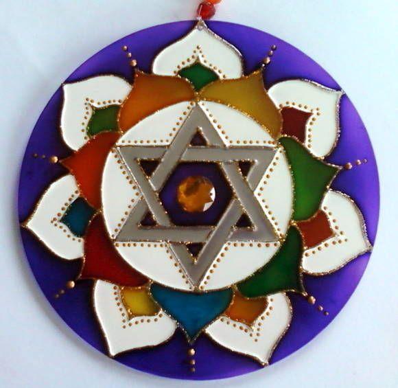 Mandala Vitral Estrela de Davi