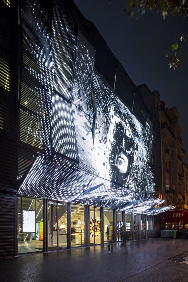 The new main façade of the Cinema Alesia in Paris, recently renovated to plans by Manuelle Gautrand Architecture, invites the public to go right into the image, in an immersive experience featuring today's most advanced cinema audio and video systems. #Architecture #Design