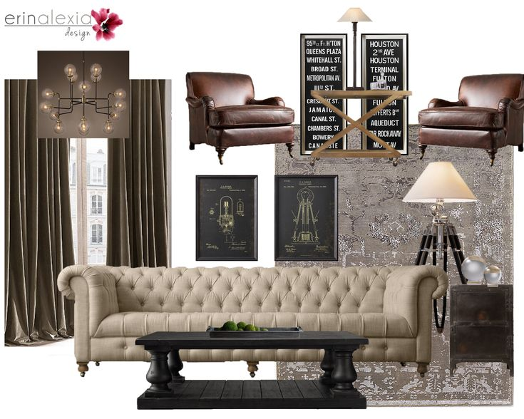 Industrial Chic Living Room Interior Design | E Design Concept Board Part 33