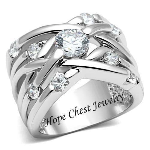 WOMEN'S SILVER TONE WEAVING DESIGN WIDE BAND CZ ANNIVERSARY RING - SIZE 5 - 10 #HopeChestJewelry #WideBand, $17.54 plus free shipping.