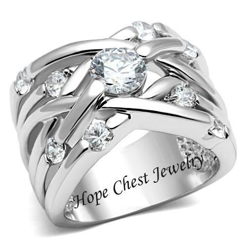 WOMEN'S SILVER TONE WEAVING DESIGN WIDE BAND CZ ANNIVERSARY RING - SIZE 5 - 10 #HopeChestJewelry #WideBand, $17.54 plus free shipping.