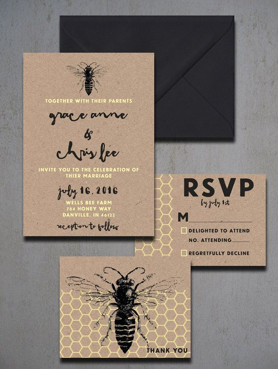 Vintage Honey Bee Wedding Invitations By HeartwoodPaperie