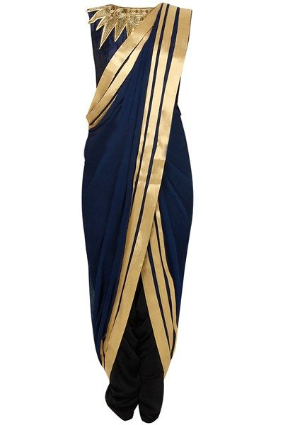 Sarees, Sarees, Clothing, Carma, Midnight blue and gold pre draped embroidered saree