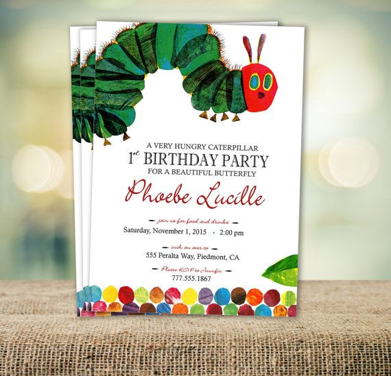 32 best Lucas First Birthday The very hungry Caterpillar images – Eric Carle Birthday Invitations