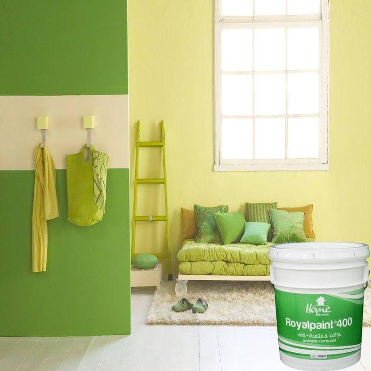 Mejora el aspecto de tus paredes con pintura satinada Royal Paint 4000,  esta línea de pintura consta de 11 colores intensos, 21 colores claros, además de blanco y negro. #PSIPinturas http://owl.li/If2N9
