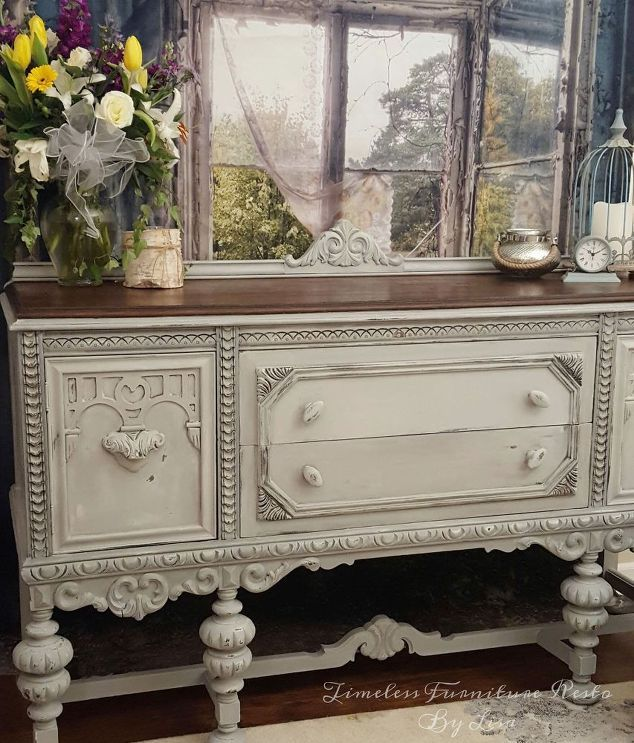 plain old brown jacobean buffet to beautiful buffet, chalk paint, painted furniture