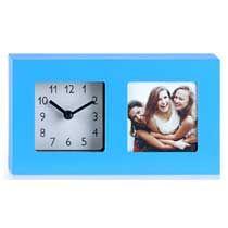 Klok met fotolijst blauw