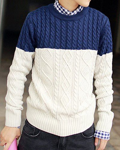 Slimming Trendy Round Neck Color Block Splicing Kink Design Long Sleeve Thicken Cotton Sweater For Men