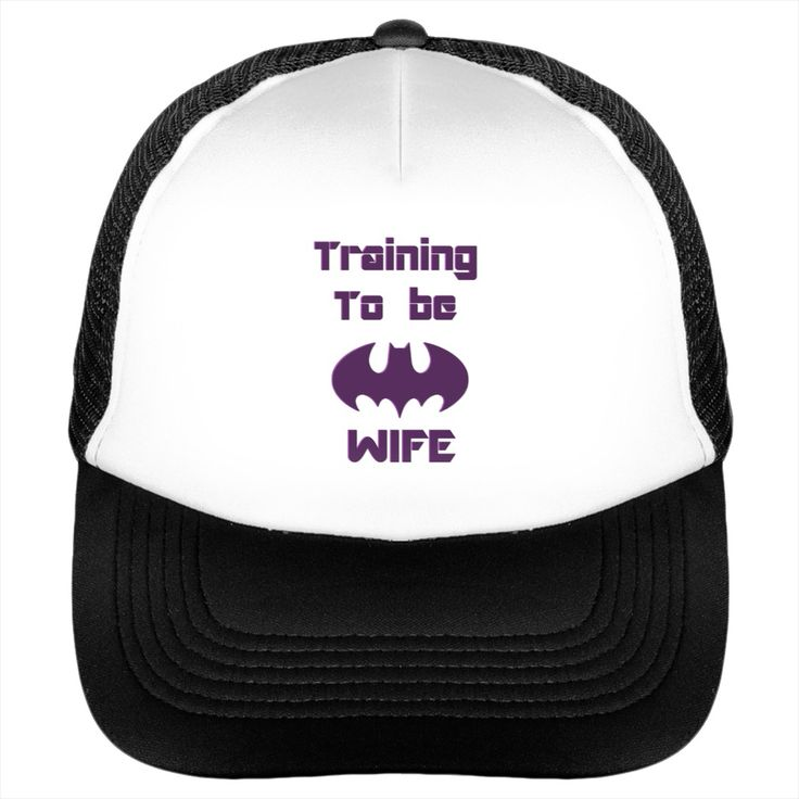 Training to be the Bat wife funny comic related trucker hat cap design purple 3d effect
