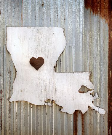 This I Heart Louisiana State Map Wall Art is perfect! #zulilyfinds