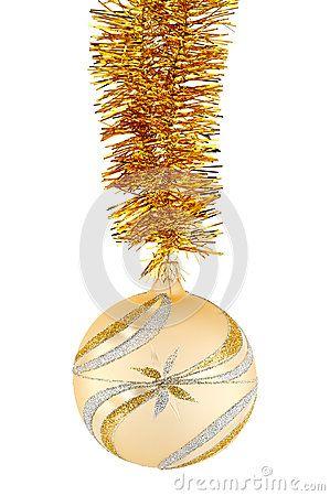 Gold Christmas ball on chain