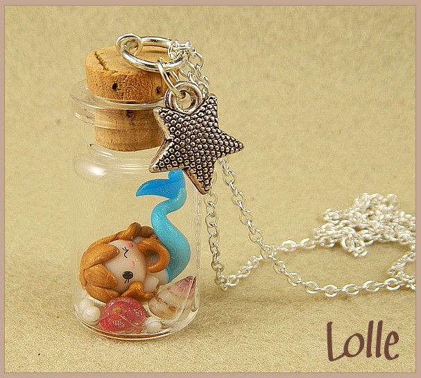 Fimo polymer clay mermaid in a bottle