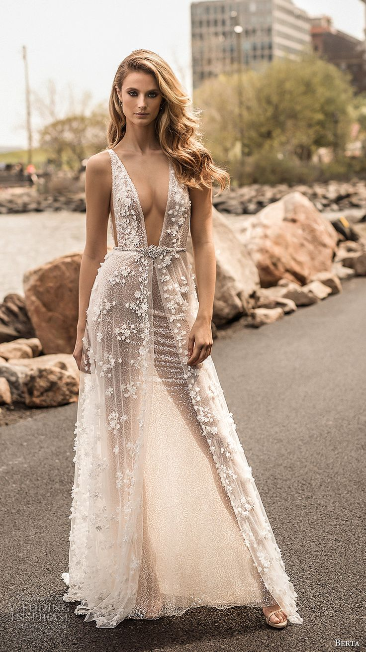 berta spring 2018 bridal sleeveless deep plunging v neck full embellishment sexy a  line wedding dress open back sweep train (14) mv -- Berta Spring 2018 Wedding Dresses