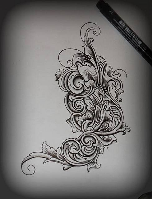 black and white filigree tattoo - Google Search