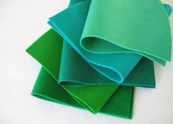 100% Wool Felt Fabric   Blue Green Shades by FeltOnTheFly on Etsy, $15.00
