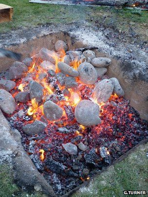 Scientists are studying the Earth's magnetic field using the stones that line Maori steam ovens.    The cooking process generates so much heat that the magnetic minerals in these stones will realign themselves with the current field direction.    An archaeological search is under way in New Zealand to find sites containing old ovens, or hangi as they are known.