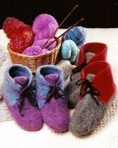 Fiber Trends AC 13 Knit & Felted Boot Slippers
