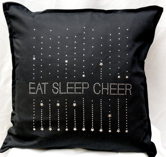 "Cheerleading pillow, Rhinestone Cheer Pillow, 20"" by 20"", sparkly pillow, cheer cushion, cheerleader bedroom, girls bedroom decor"
