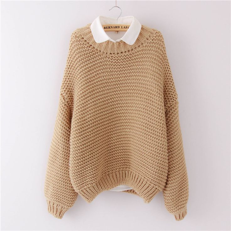 Women Korean Sweater Thick Coarse Wool Knitted Tops Fashion Casual For Autumn Winter Knitted Pullover