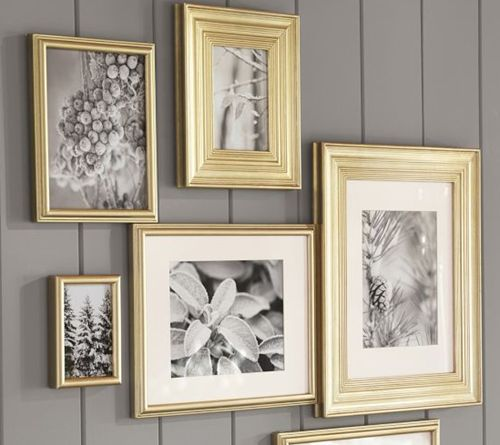 """Love the gold frames with the """"silver"""" (black and white) pics!"""