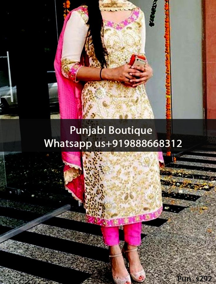 Stunning Off White And Pink Embroidered Punjabi Suit Product Code: Pun_s292 To order this dress , please call or WhatsApp us at +919888668312 We can design this Punjabi Suit in any color combination or on any fabric (price may vary according to fabric)
