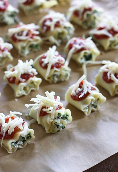 Adorable appetizer- really fun idea:  Mini Lasagna Roll Ups