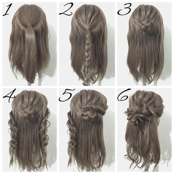 Half up French Braid Messy Bun – #Braid #Bun #Fren…