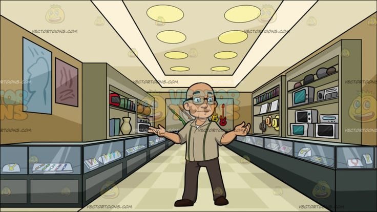 A Bald Man With Glasses At Inside A Pawnshop :  A bald man with eyeglasses wearing a light pale brown collared shirt with two green stripes light brown pants and dark brown shoes smirks while extending both arms sideways. Set in interior of a pawnshop with glass gray shelves securing and displaying multiple items for bidding and sale paneled ceiling with round lights paintings and more items in the wall shelves.