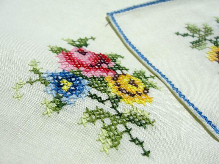 cross stitch napkins