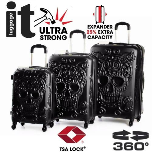 IT-Luggage-Set-Skull-Emboss-3Pc-Hardside-Expandable-4-Wheel-Spinner-Suitcase-BLK