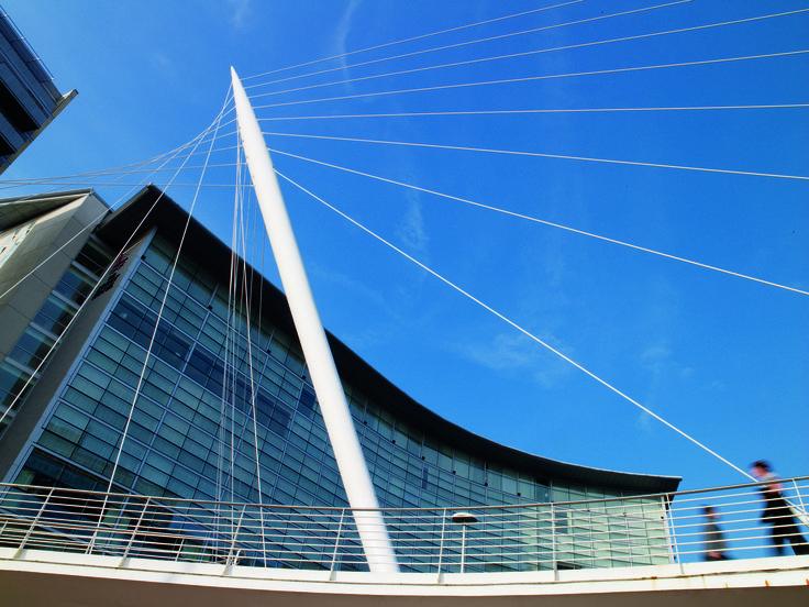 The Lowry Hotel façade from Calatrava's Bridge