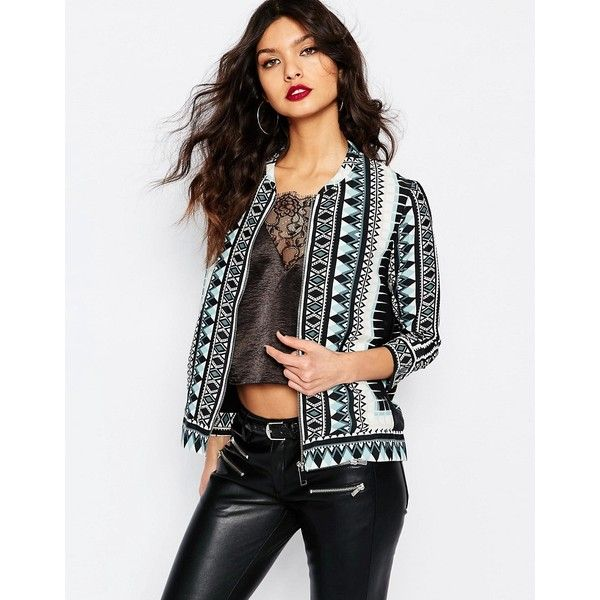 River Island Lace Bomber Jacket ❤ liked on Polyvore featuring outerwear, jackets, white lace jacket, white jacket, bomber jackets, river island jackets and lace jacket