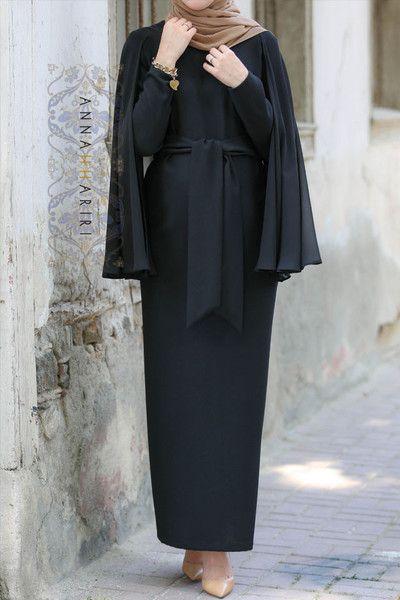 Cape Dress in Black Modest Cape dress with belt