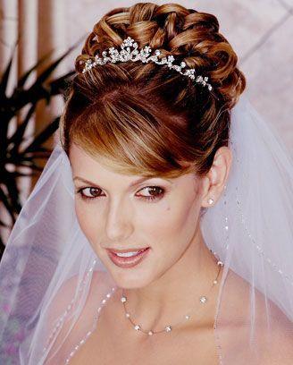 Wedding Hair Headdresses Veils - Updo with mini tiara & low veil from